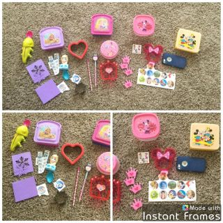 Disney Princess and Disney lunch box items. Sandwich holders, sandwich cutters, cute spoons, stickers, etc. $3.00
