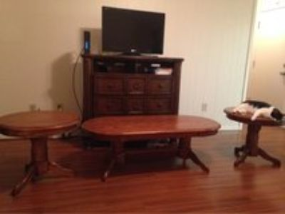 Real Wood Coffee Table and Matching Side Tables