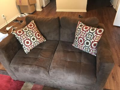 Brown suede Coach AND loveseat with pillows