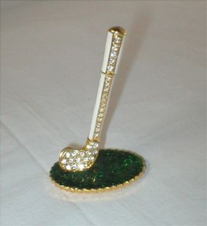 "Miniature Golf Club w/Rhinestones - Goldtone Trim - 3"" Tall"