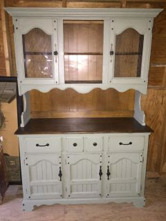 Country rustic distressed kitchen hutch