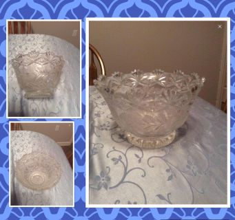 Cut Glass Bowl with etched flowers & leaves