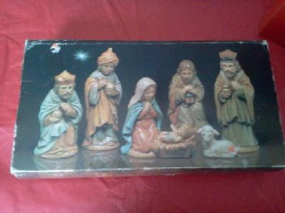 $25 A Child is Born Enesco 6 Piece Ceramic Navity Set Collectible
