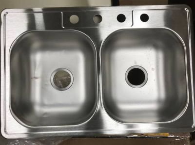 """Drop-In Stainless Steel 33"""" 4-Hole Double Bowl Kitchen Sink - New!"""