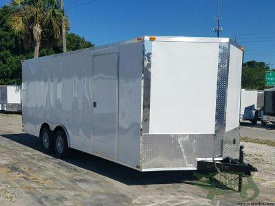 8.5' x 20' White Car Hauler w/Ramp & Drings