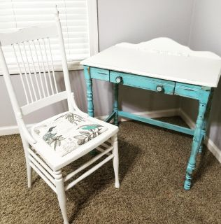 Vintage Desk Chalk Painted and Reupholstered Chair