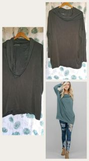M teal cowl neck hooded tunic with pockets ppu