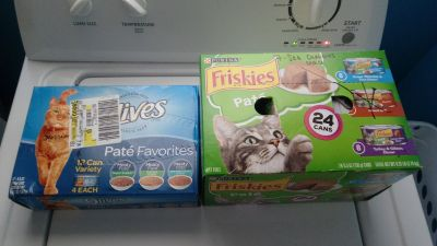 Friskies 24 cans and 9 lives boxes of canned food