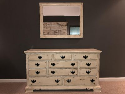 Solid wood dresser and mirror. Hand painted & waxed with Annie Sloan products. Drawers slide perfectly. Must pick up in Hendersonville.