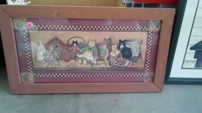 Wood framed farmhouse style picture 22 inches by 13 inches $2 porch pick up