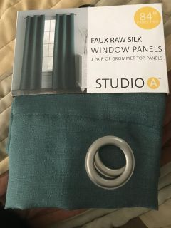 New curtains, faux raw silk, grommet top panel pair