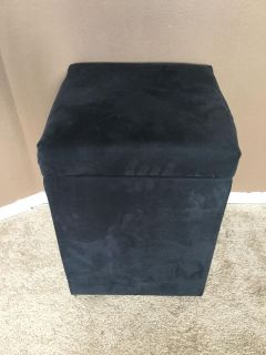 Black Padded Storage Ottoman in Excellent Condition