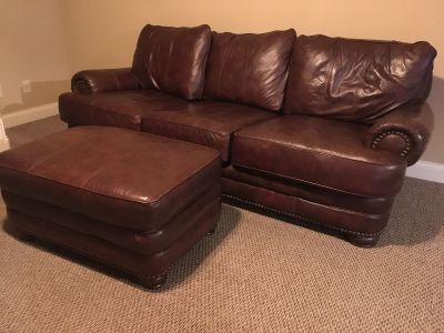Gorgeous Oversized Leather Couch & Ottoman Set!