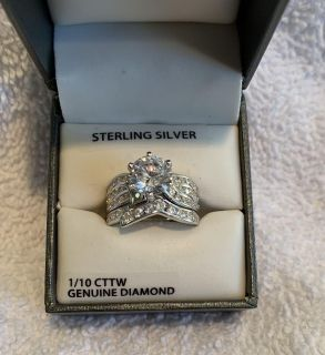 NEW STERLING SILVER DIAMOND RING SIZE 7