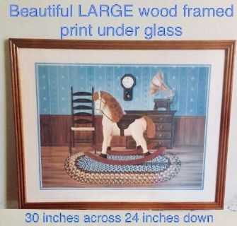 30 x 24 LARGE Rocking Horse Framed picture