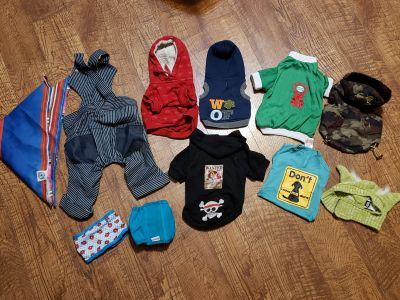 Small dog clothes, 1 larger scarf $15/all Appleton cp