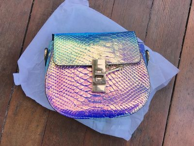Iridescent, Holographic Faux Reptile Purse