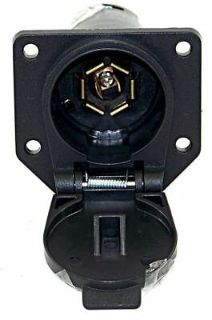 Trailer Wiring Connector Female 7 Way Round Plug 7 Ways RV Blades Style Connections 6 to 24 Volts