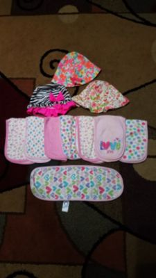 3 baby hats and Burp cloths