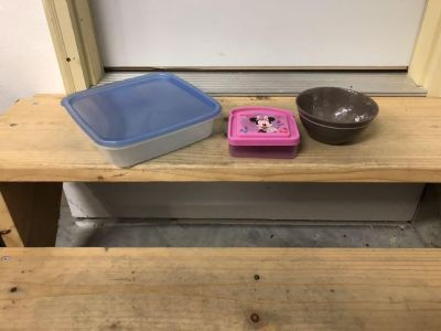 Storage container,Minnie sandwich keeper and one cereal bowl.