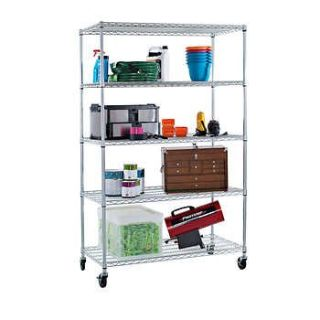 "TRINITY EcoStorage 5-Tier Wire Shelving Rack 47.50"" x 18.00"" x 72.00"" NSF, Includes Wheels, Chrome"