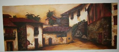 BEAUTIFUL SPANISH VILLAGE OIL PAINTING