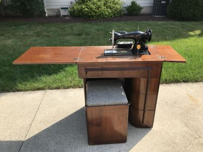 Vintage Sewing Machine, Cabinet and stool