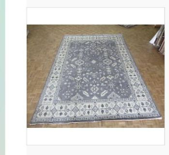 9 10 x14 silver grey hand knotted Oushak rug