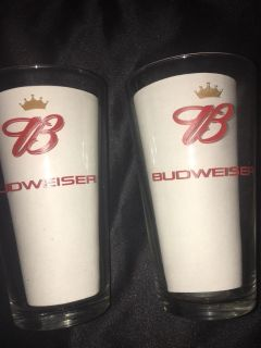 BUDWEISER: Set Of 2 Collectible 6 Tall Glasses Must Pick Up In McDonough