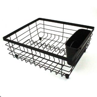 Countertop Dish Drainer Black Dish-Drying Rack with Removable Utensil Holder