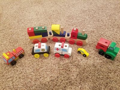 Melissa and Doug wooden cars and train