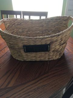 Large basket with chalkboard sign on front like new $10