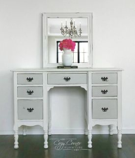 Grey and White Distressed Farmhouse Desk / Vanity with Mirror