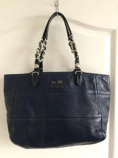 Coach Madison tribeca chain link blue leather tote