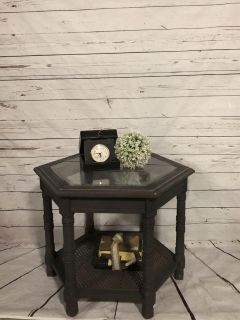 Rustic glass top side table $50