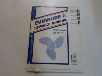 Purchase 1980 Evinrude Electric EB52 EB82 E4H EB54 EB84 Service Repair Manual DAMAGED OEM motorcycle in Sterling Heights, Michigan, United States, for US $29.95