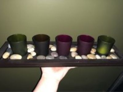 wooden candle holder decor