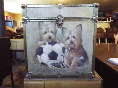 Record Box*Vintage*Playfull Dogs*Wood*