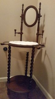 Antique Wash Stand with Bowl, Candle Holders, & Towel Rack