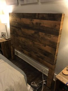 Reclaimed Wood Queen Headboard and End Tables