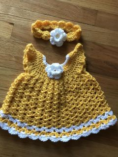 0-3 months baby girl angel wings dress. Hand crocheted by me