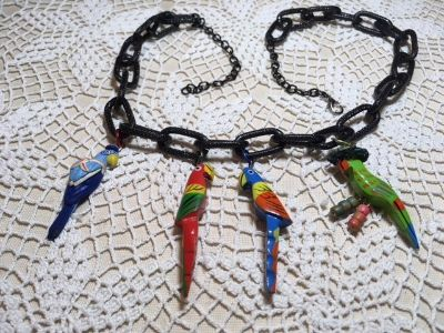 SALE Necklace Vintage Birds Four Hand Painted Wood on Large Black Oval Loop Chain Unique Custom
