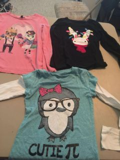 Girls tops size 7/8 and Hello Kitty pj s