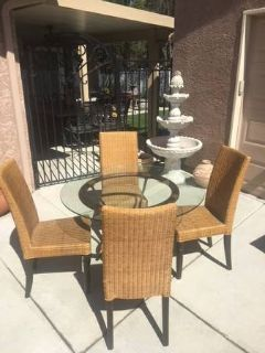 5-Pc Glass and Faux Wicker Dining Set