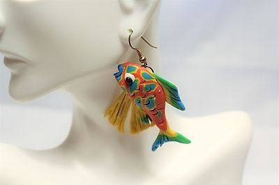 Fish Ocean Beach Red Yellow Blue Green Aquarium Coral Reef Drop Dangle Hook Sea Nemo Clown Blow ...
