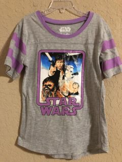 Star Wars Grey And Purple Short Sleeve Shirt. Size Small. Nice Condition