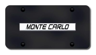 Buy GM Monte Carlo Name Chrome on Black License Plate Made in USA Genuine motorcycle in San Tan Valley, Arizona, US, for US $33.38