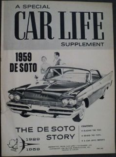 Sell 1959 DeSoto Reprint Article From Car Life November 1958 ORIGINAL Supplement motorcycle in Holts Summit, Missouri, United States, for US $17.58