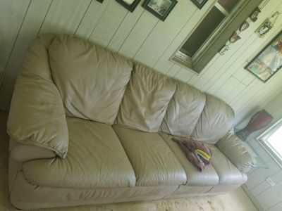 Beige Leather Sofa ** $55 If picked up today by 1pm!!