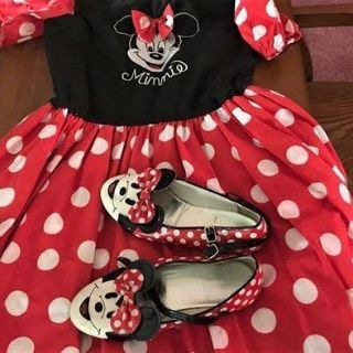 Girls 6X Minnie Mouse Dress With Matching Shoes!!